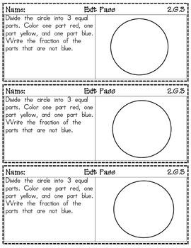 Second Grade Math - Common Core Exit Passes - Geometry