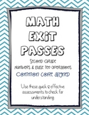 Second Grade Math - Common Core Exit Passess - Numbers & Base Ten Operations