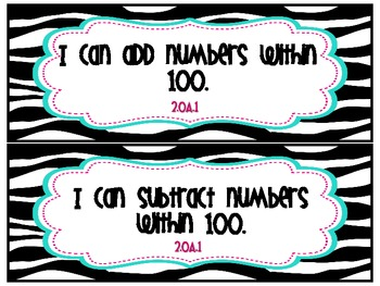 Second Grade Math Common Core Posters- I Can Statements- Zebra Theme