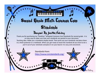 Second Grade Math Common Core Standards (Rock Star Themed)