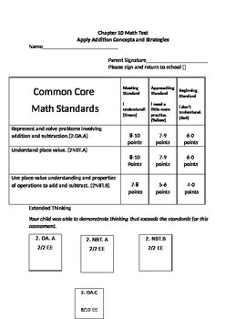 Second Grade Math Connects Ch. 10 Common Core Assessment and Coversheet