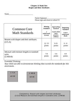 Second Grade Math Connects Ch. 11 Common Core Assessment and Coversheet