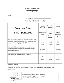 Second Grade Math Connects Ch. 12 Common Core Assessment and Coversheet