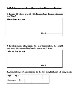 Second Grade Math Connects Ch. 14 Assessment and Coversheet