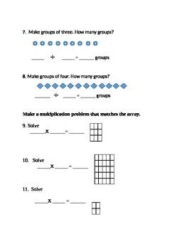 Second Grade Math Connects Ch. 15 Common Core Assessment and Coversheet