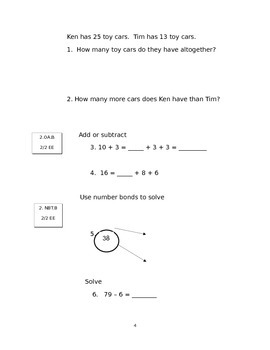 Second Grade Math Connects Ch 2 and 3 Common Core Assessment and Coversheet