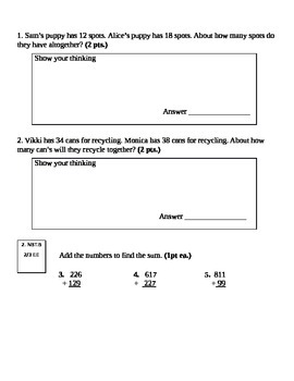 Second Grade Math Connects Ch. 5 Common Core Assessment and Coversheet