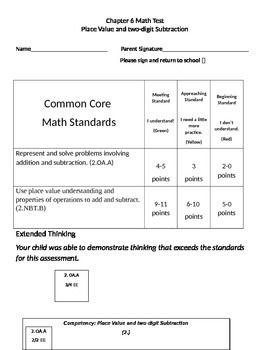 Second Grade Math Connects Ch. 6 Common Core Assessment and Coversheet