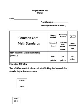 Second Grade Math Connects Ch. 7 Common Core Assessment and Coversheet