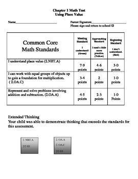Second Grade Math Connects Chapter 1 Common Core Assessment Coversheet