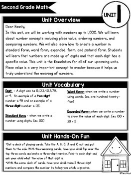 Second Grade Math Curriculum Home Connection Newsletters