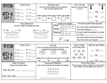 Second Grade Math Daily Review Warm-up based on Common Core Math weeks 13-16