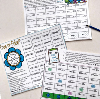 Second Grade Math Games Bundle Addition, Subtraction, and Place Value