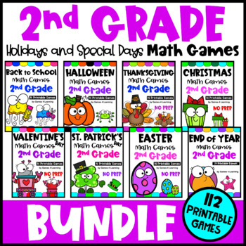 2nd Grade Math Games Holidays Bundle: End of Year Math, Back to School Math etc