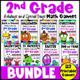 Second Grade Math Games Holidays Bundle: St. Patrick's Day Math, Easter Math etc