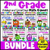 2nd Grade Math Games Holidays Bundle: Back to School Math, Halloween Math etc