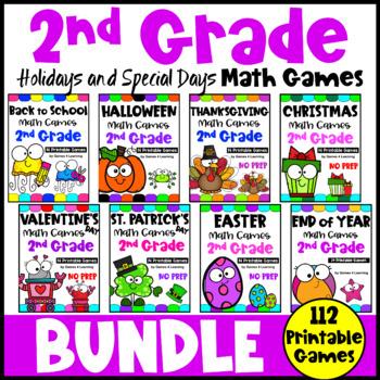 Second Grade Math Games Holidays Bundle: Thanksgiving Math