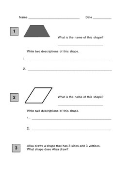 Second Grade Math Geometry assessment
