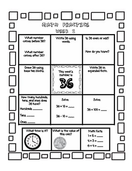 Second Grade Math Homework 6 week Free Preview - Place Value, Time, Money