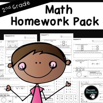 Second Grade Math Homework Bundle (EDITABLE!)