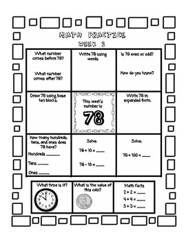 2nd Grade Math Homework for ENTIRE YEAR - Place Value(2 & 3 digit), Time, Money