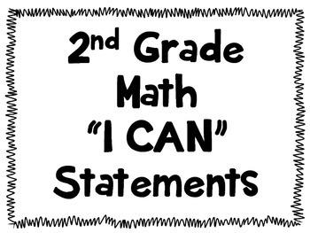 Second Grade Math I Can Statements Posters