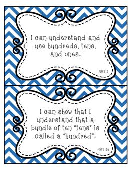 "Second Grade Math ""I Can"" Statements Printable Wall Cards - Blue Chevron"
