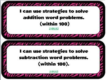"Second Grade Math ""I Can"" Statements in Zebra Print"