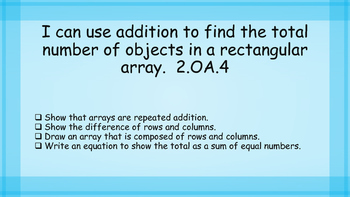 Second Grade Math I Can statements