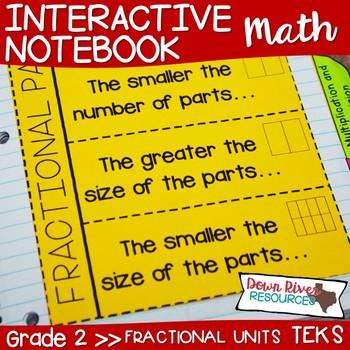 Second Grade Math Interactive Notebook: Fractional Units(Halves/Fourths/Eighths)