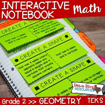 Second Grade Math Interactive Notebook: Geometry- 2-D Shapes & 3-D Solids (TEKS)