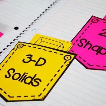 Second Grade Math Interactive Notebook: Geometry- 2-D Shapes & 3-D Solids (TEKS)