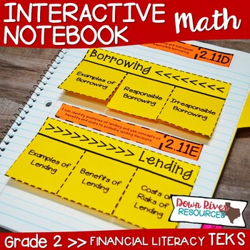 Second Grade Math Interactive Notebook: Personal Financial Literacy (TEKS)