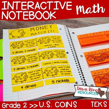 Second Grade Math Interactive Notebook: Value of a Collection of Coins (TEKS)