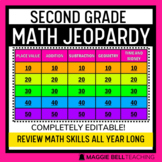 Second Grade Math Jeopardy Virtual Review Game for Distance Learning (editable)