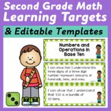 Second Grade Common Core Math I Can Statements and Editabl