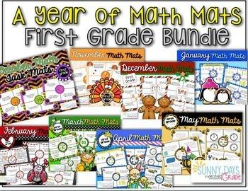 First Grade Math Mats {Yearlong Bundle}