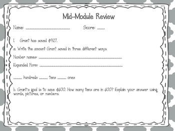 EngageNY 2015 Second Grade Math Module 3 Review Pack and Game