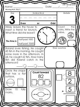 2nd Grade Math Morning Work 1st Qtr (August, September, October)