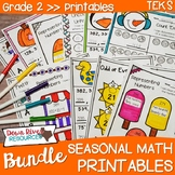 Second Grade Math No Prep Printables Seasonal Yearlong Bun