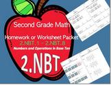 2nd Grade Math Homework Packet for 2.NBT Standards