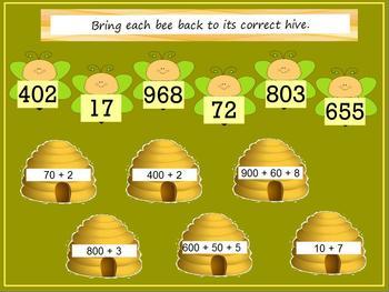 Second Grade Math Promethean Flip Chart Lesson/Center & Quiz on CCSS 2.NBT