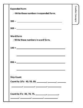 Second Grade Math Review Lapbook