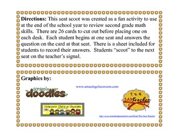 Second Grade Math Review Seat Scoot