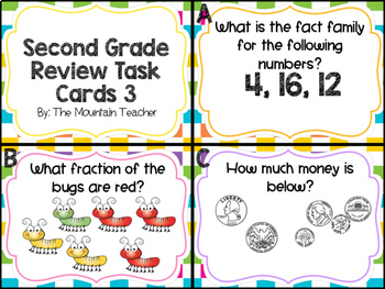Second Grade Math Review Task Cards BUNDLE