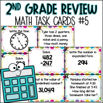 Second Grade Math Review Task Cards (set 5 of 5)