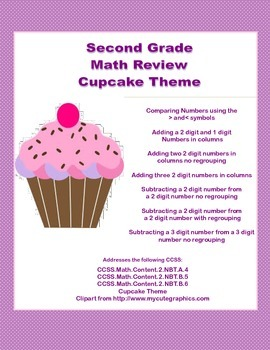 Second Grade Math Review -Cupcake Theme-CCSS