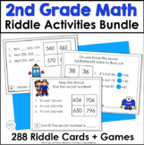 Second Grade Math Riddle Task Cards Bundle