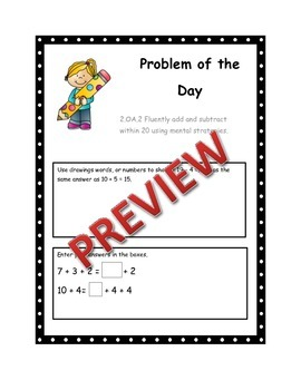 2.OA2 Second Grade Math Problem of they Day