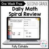 Second Grade Math Spiral Review Morning Work FREE WEEK
